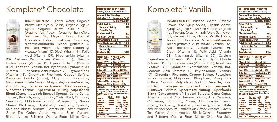Kate Farms Komplete Meal Replacement Shakes Case Of 12