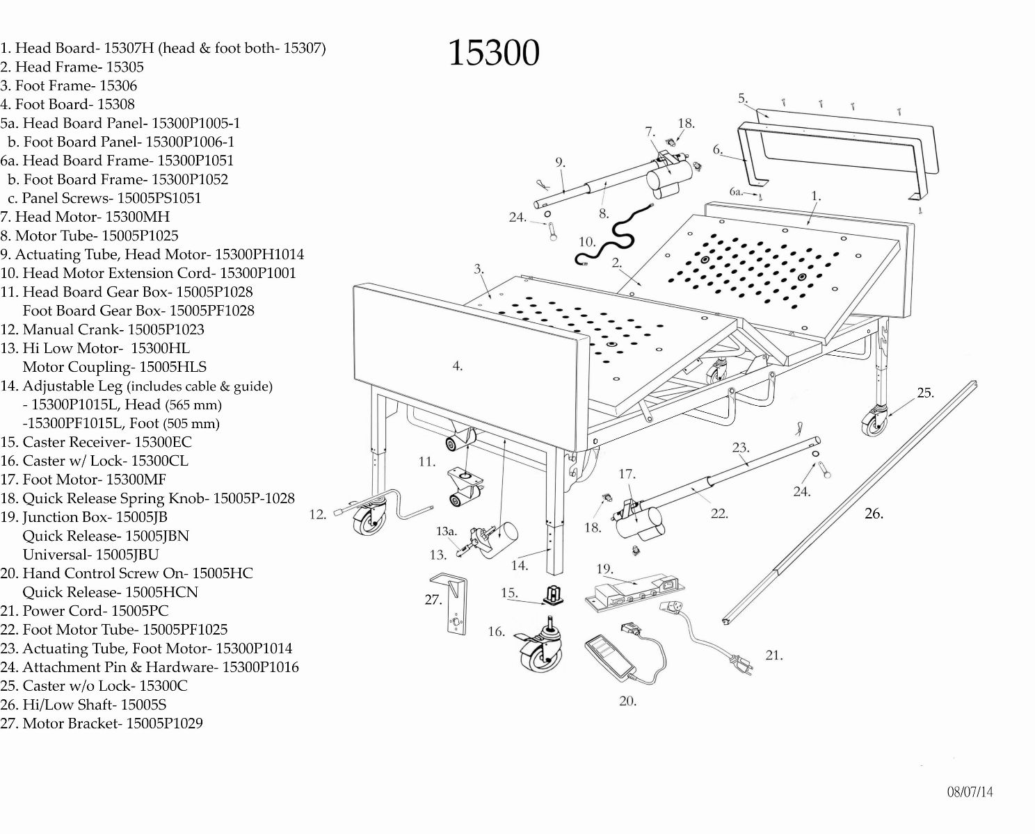 Full Electric Bariatric Hospital Bed Replacement Parts 41676 on receptacle wiring diagram
