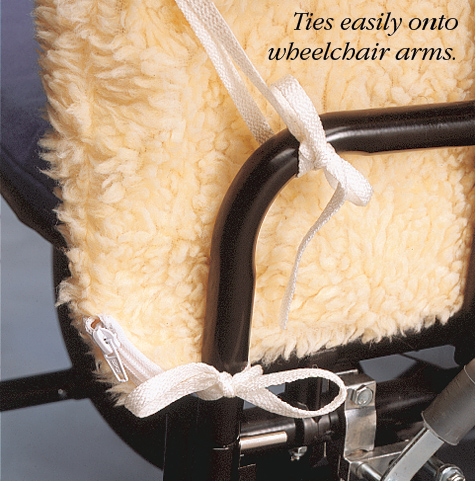 Wheelchair Arms Or Geriatric Chairs Synthetic Sheepskin Cover Can Be Removed For Laundering Support Measures 12 3 4in Tall X 18in Long 32 46cm