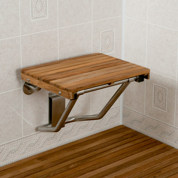 Teak ADA Compliant Wall Mount Shower Bench
