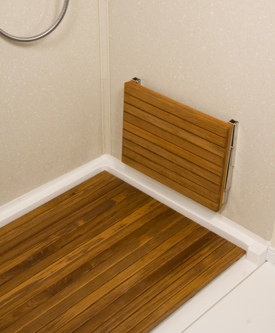 more information the teak wall mount fold down shower bench