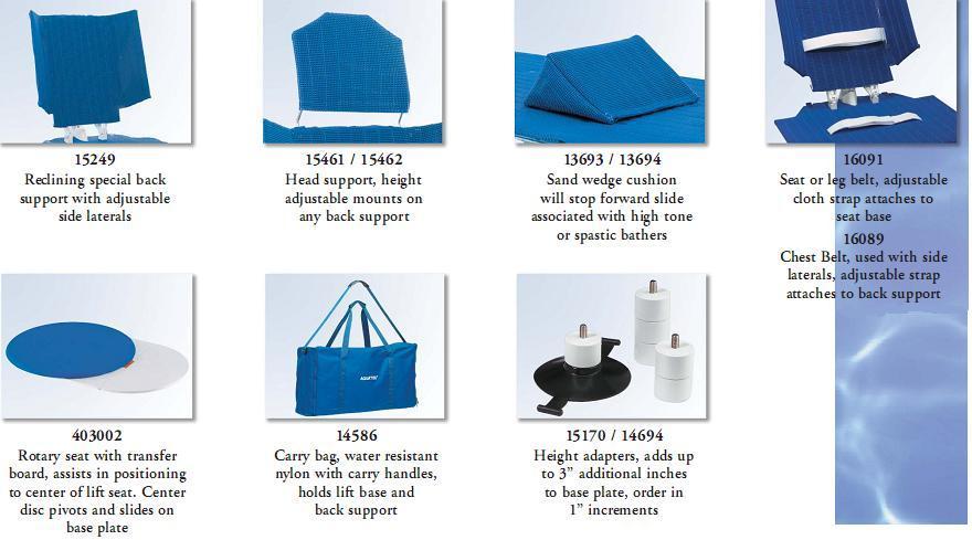 Accessories for Aquatec Bathlifts
