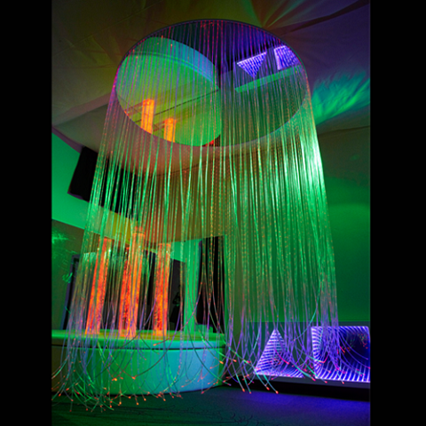 Circular Led Color Changing Fiber Optic Shower With