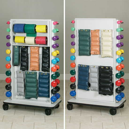 Mobile Weight Rack For Cuff Weights, Dumbbells, And