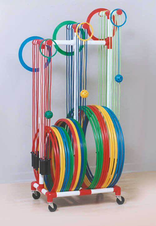 jump rope and hoop holder cart