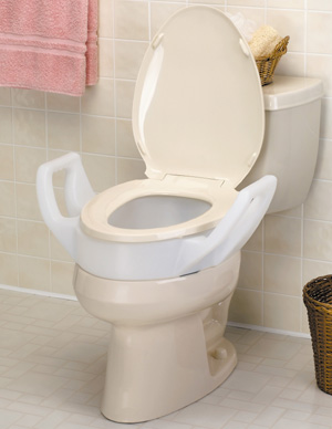 Elongated Elevated Toilet Seat With Arms