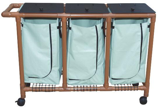 Wood Tone Triple Bag Laundry Hamper Free Shipping