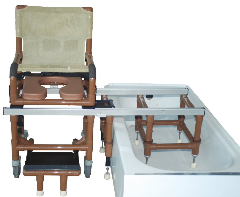 Wood Tone Dual Shower Transfer Chair - FREE Shipping