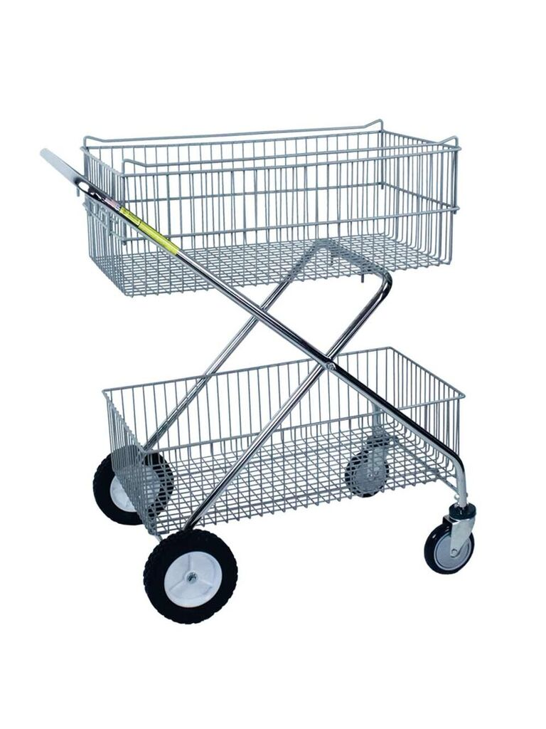 Deluxe Two Level Wire Utility Push Cart Free Shipping