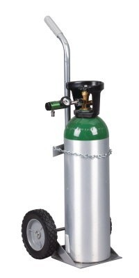 Single Oxygen Cylinder Cart with Large Wheels