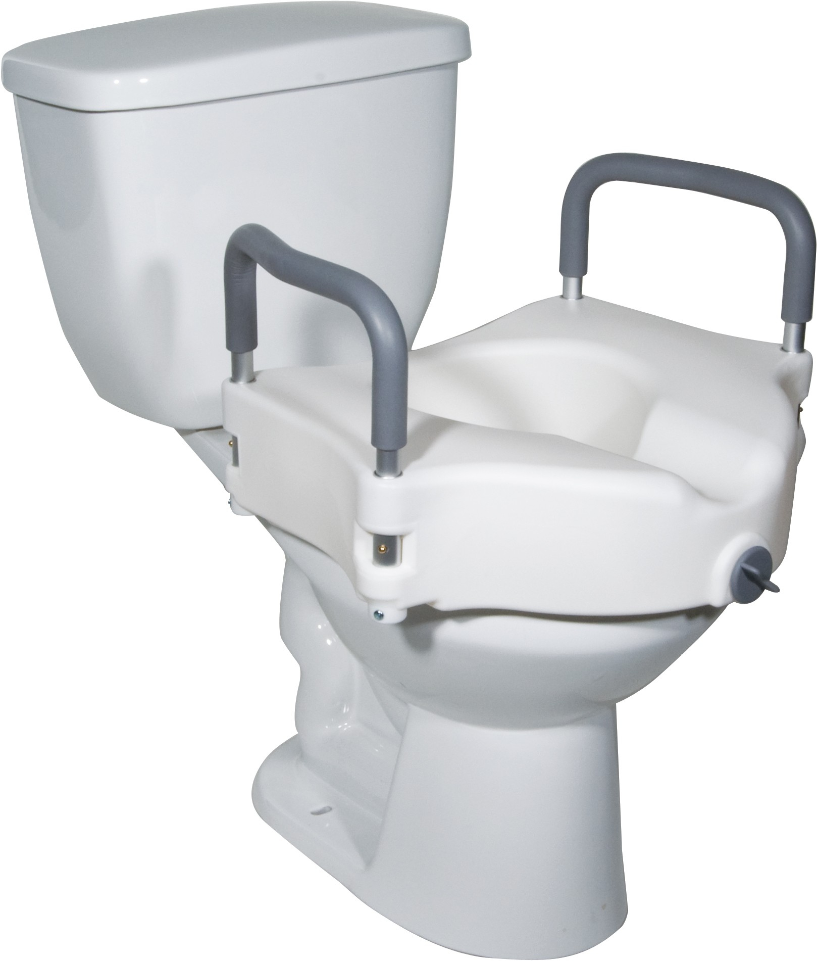 Locking Elevated Toilet Seat with Arms - FREE Shipping