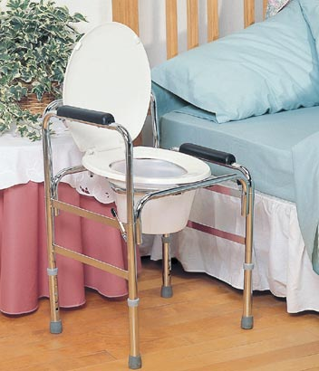 Drop Arm Bedside Commode And Raised Toilet Seat Frame