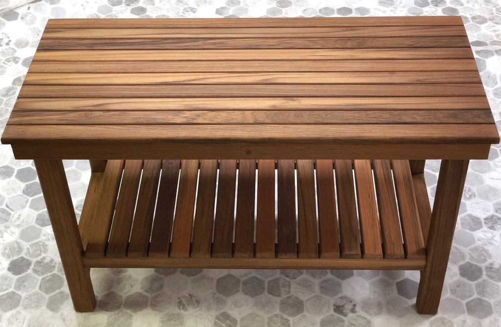 Deluxe Teak Shower Bench with Shelf - FREE Shipping