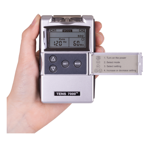 Detailed View of the handheld Digital TENS 7000