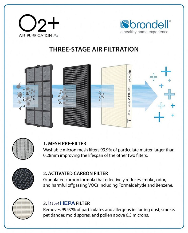 O2 + Source True HEPA and Carbon Filtration Air Purifier by Brondell