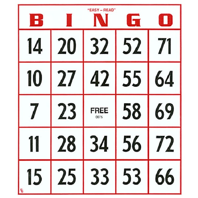 EZ To Read Bingo Cards
