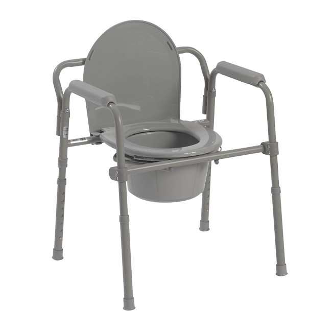 Outstanding Drive Medical Adjustable Height Folding Steel Commode Evergreenethics Interior Chair Design Evergreenethicsorg