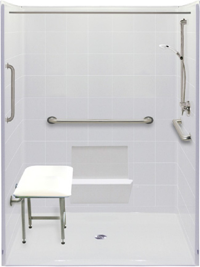 freedom five piece 60 x 49 wheelchair accessible shower
