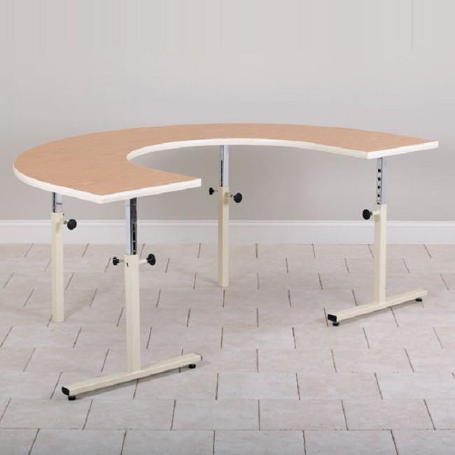U Shaped Adjustable Height Work Table