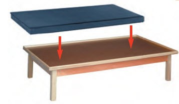 Mat only for raised rim fixed height platform table for Table th fixed width