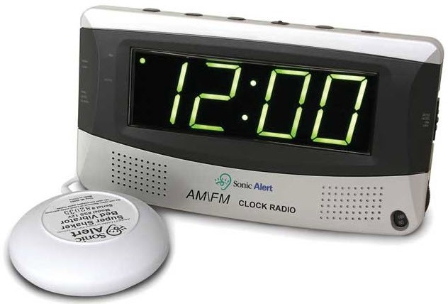 sonic alert sonic boom alarm clock with radio hearing impaired clocks. Black Bedroom Furniture Sets. Home Design Ideas