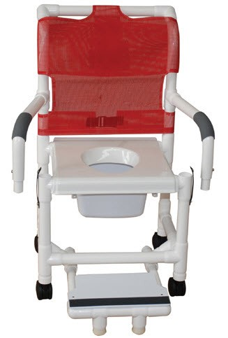 shower commode chair with vacuum seat and double drop arms shower