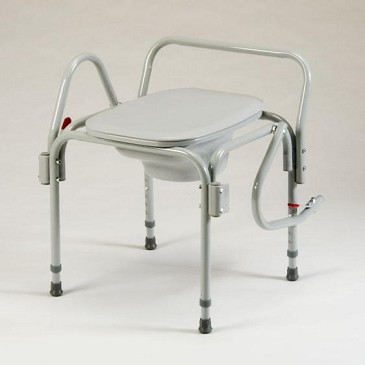 Drop-Arm Bedside Commode Chair with Elongated Seat