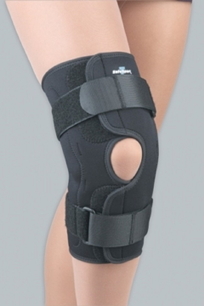 d3f1826be2 Metal medial/lateral hinges in neoprene-covering combined with a quick  applicating wrap design that makes this an ideal knee brace for  slight/moderate ...