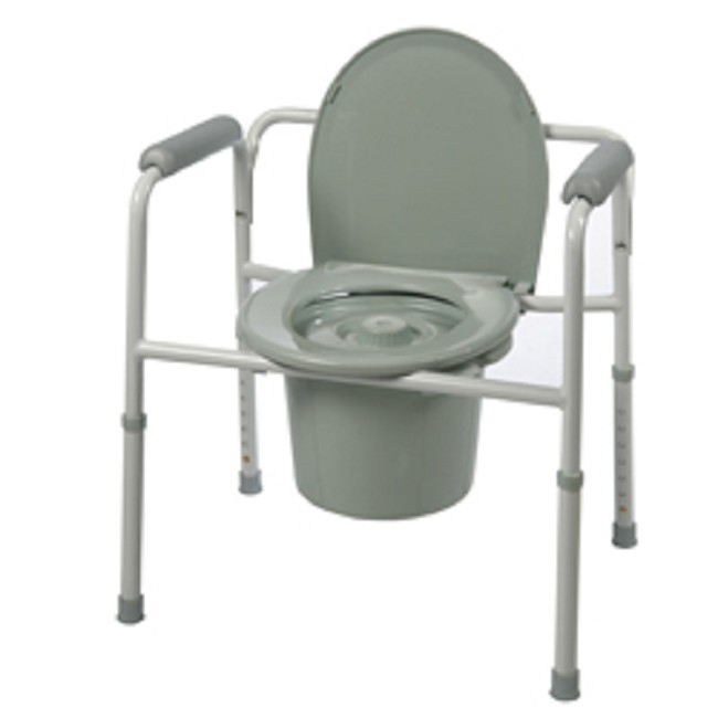 Three-In-One Raised Toilet Seat, Safety Frame, and Bedside Commode