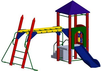 Fort Columbus Playground Set with 3 Foot High Deck