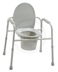 Deluxe All-In-One Welded Steel Commode with Plastic Armrests