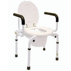 Drop-Arm Bedside Commode with Comfortable Armrests