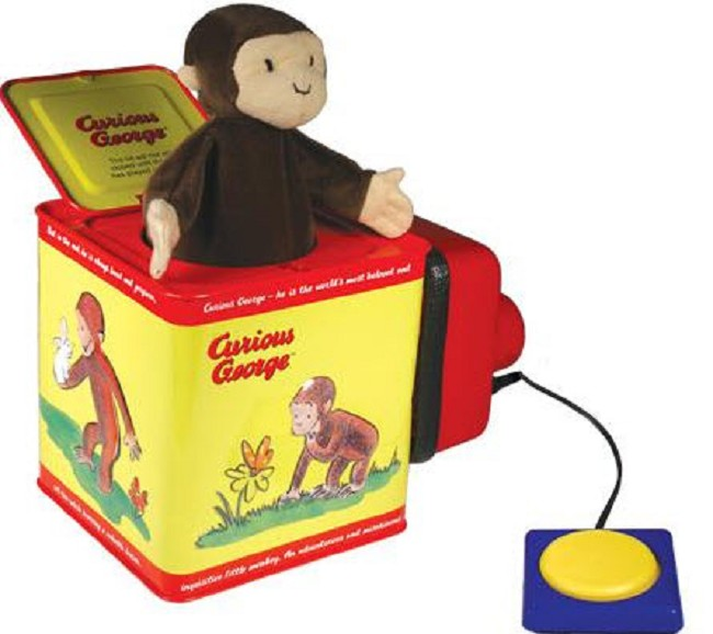 curious george jack in the box free shipping. Black Bedroom Furniture Sets. Home Design Ideas