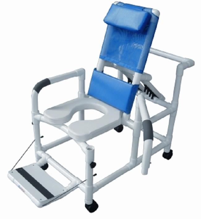 PVC Reclining Shower Commode Chair