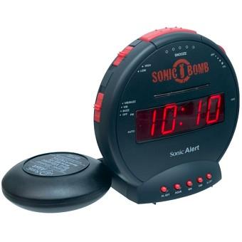 deaf alarm clock hard of hearing vibrating alarm clock sonic boom alarm clock clock. Black Bedroom Furniture Sets. Home Design Ideas