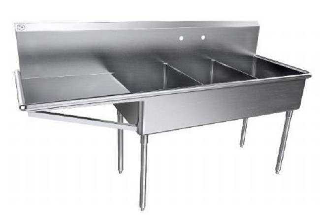 Stainless Steel Three Compartment Scullery Sink
