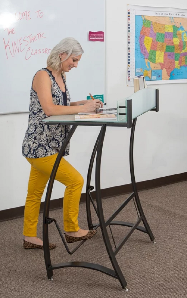 Kinesthetic Classroom Executive Standing Desk with Tempered Glass Top