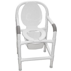 Bedside PVC Commode Chair with Elongated Seat and Open Front Lid