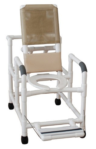 Reclining Shower Chair with Deluxe Elongated Open Front Seat and Folding Foot