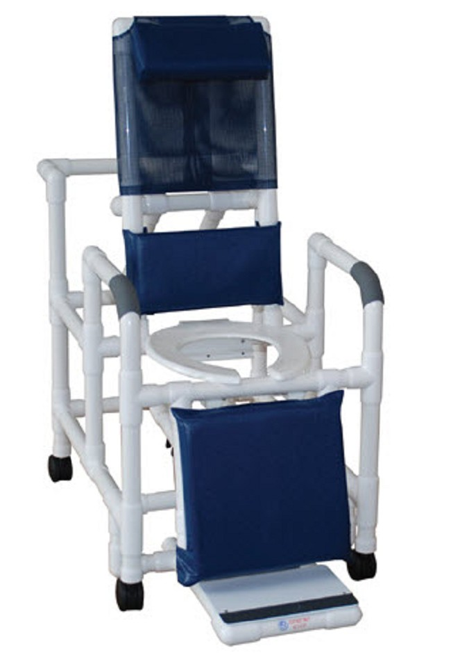 Reclining Shower Chair With Sliding Footrest And Deluxe Elongated ...
