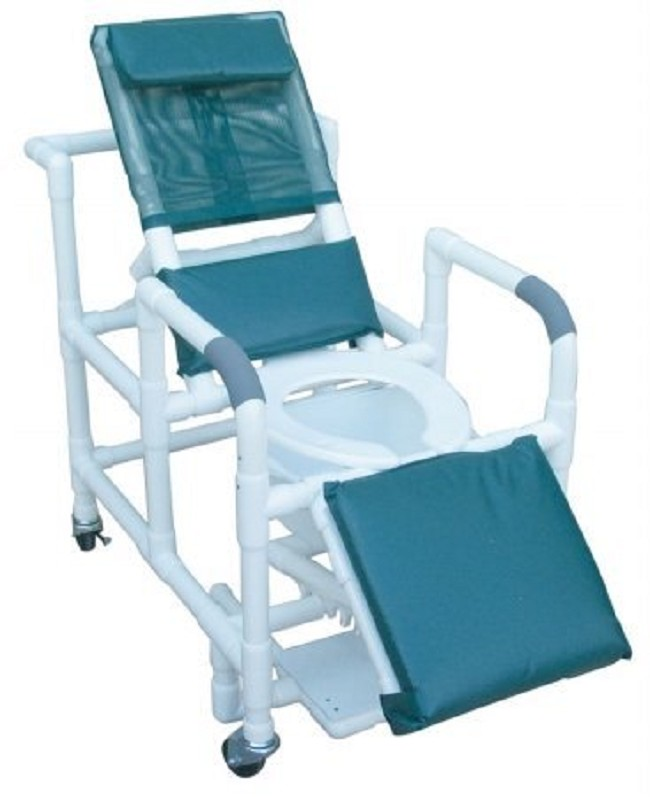 Reclining Shower Commode Chair With Sliding Footrest