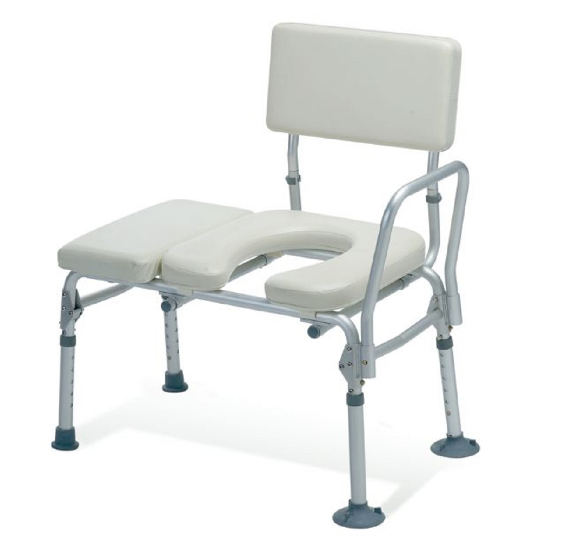 Sliding Tub Transfer Bench - Guardian padded transfer bench with commode opening