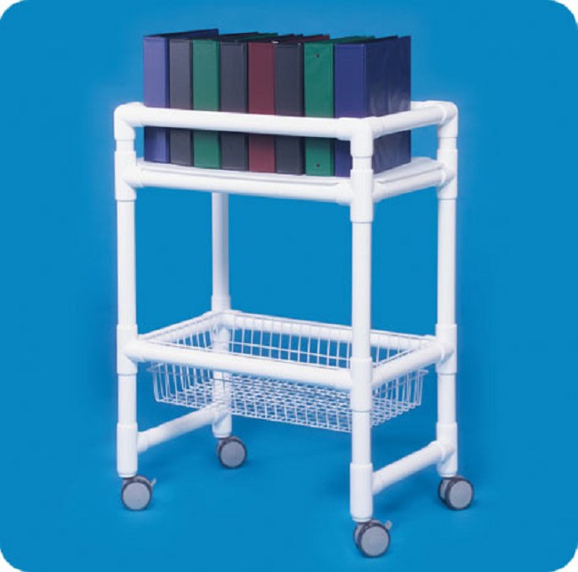 Mobile Medical Notebook Chart Rack with Wire Basket