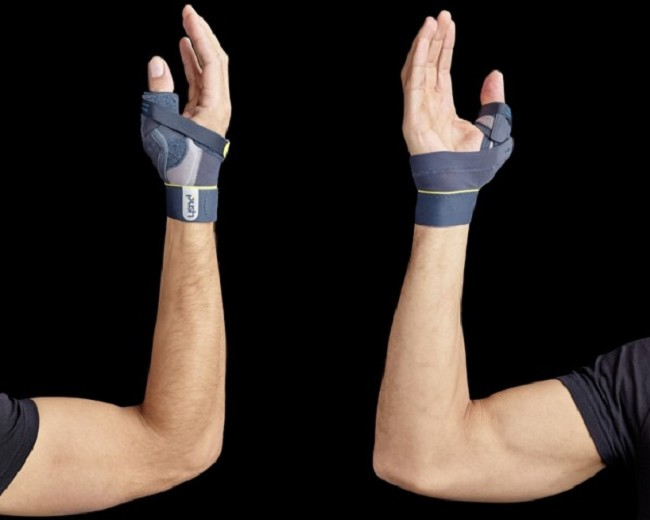 This thumb brace has a strap system to firmly secure to your hand while  leaving the palm and fingers free for a comfortable fit that won't hinder  mobility ...
