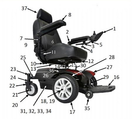 Titan power wheelchair replacement parts for How to motorize a wheelchair