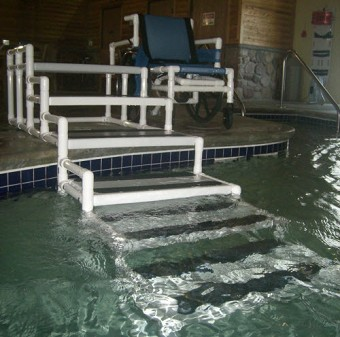 aquatrek ada compliant transfer system exterior elegant above ground pool ladders for handicapped - Above Ground Pool Steps For Handicap