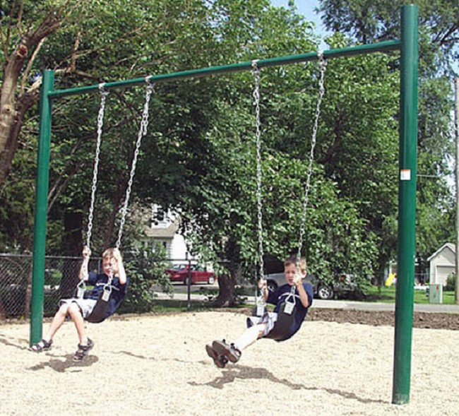 Enjoyable and appealing to children, these durable, single post swing sets  provide a ton of fun in a small, compact design!