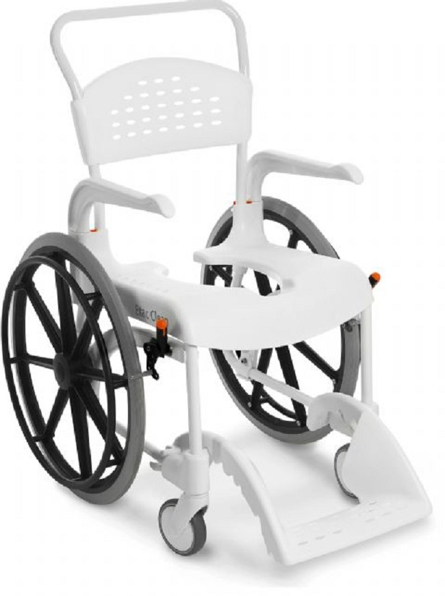 Etac Clean 24 in. Shower Commode Chair with Wheelchair Wheels