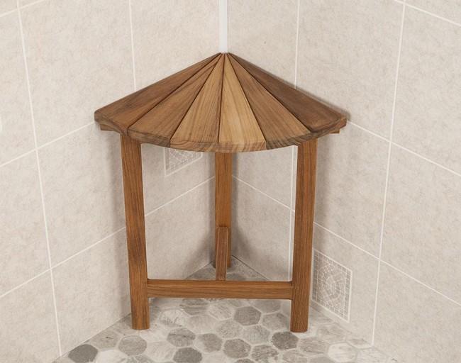 Teak Corner Shower Bench with Fan Design Top