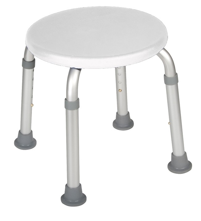 White Adjustable Height Bath And Shower Stool